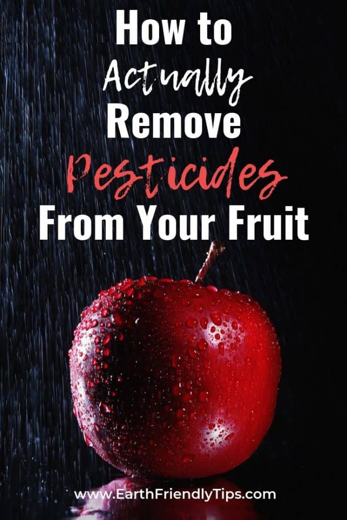 Apple with water droplets text overlay How to Actually Remove Pesticides From Your Fruit
