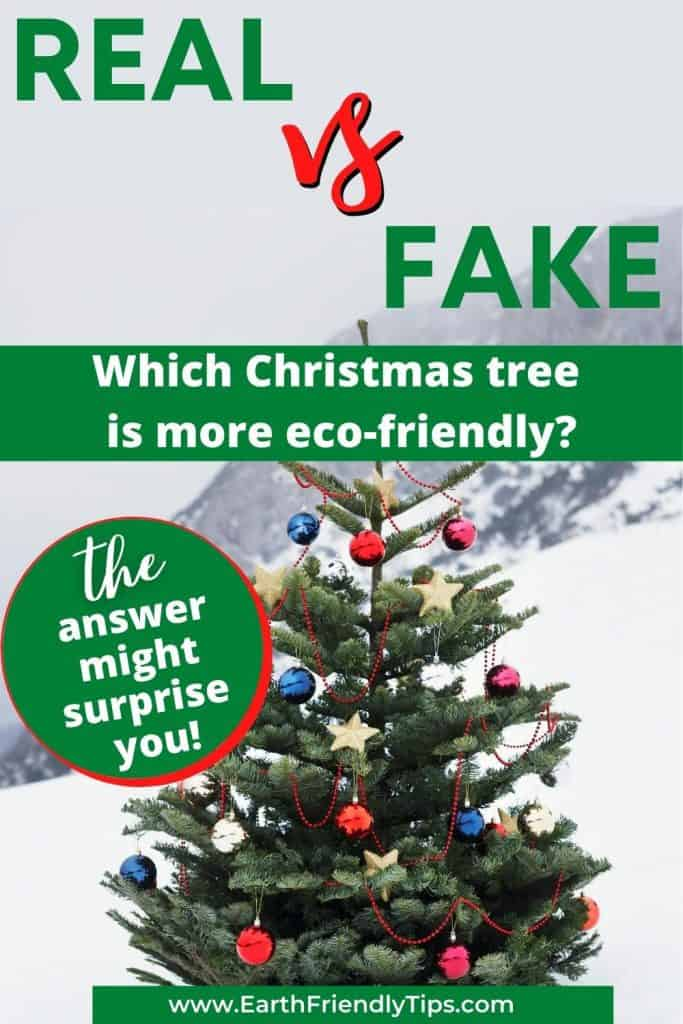 Christmas tree on mountain text overlay Real vs Fake Which Christmas Tree is More Eco-Friendly