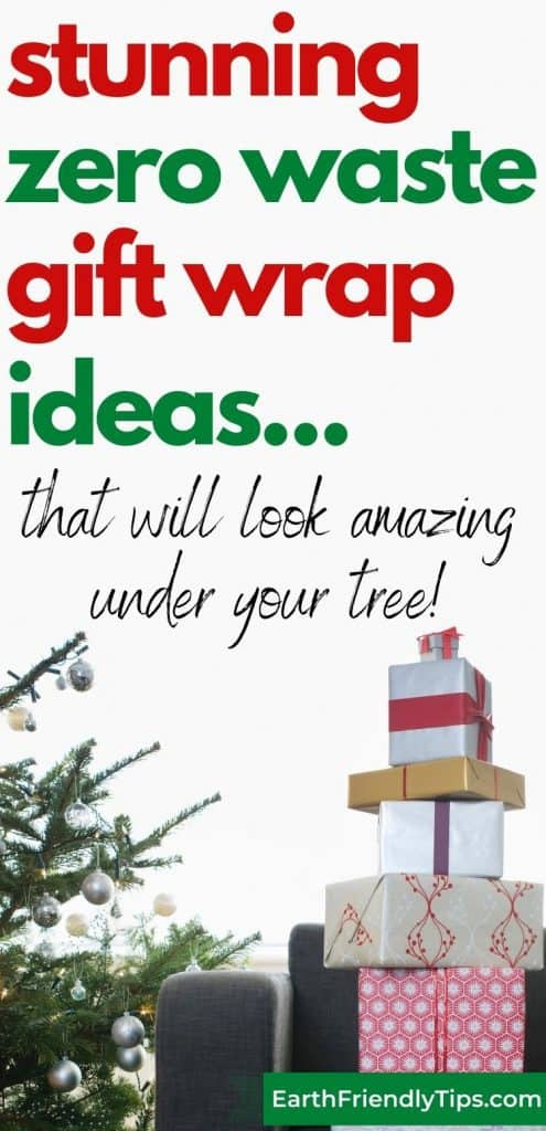Stack of wrapped presents under tree text overlay Stunning Zero Waste Gift Wrap Ideas