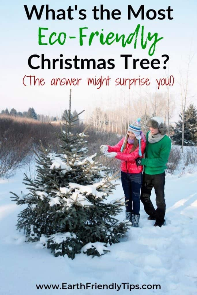 Man and woman decorating Christmas tree text overlay What's the Most Eco-Friendly Christmas Tree?