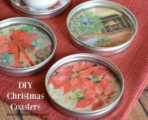 Upcycled Christmas coasters