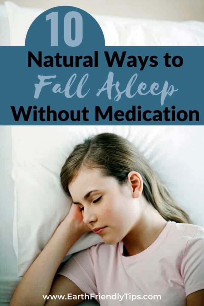 Woman sleeping text overlay 10 Natural Ways to Fall Asleep Without Medication