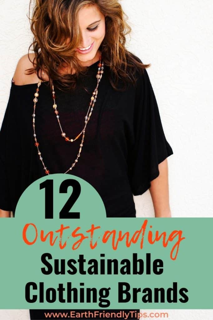 Woman in black dress text overlay 12 Outstanding Sustainable Clothing Brands