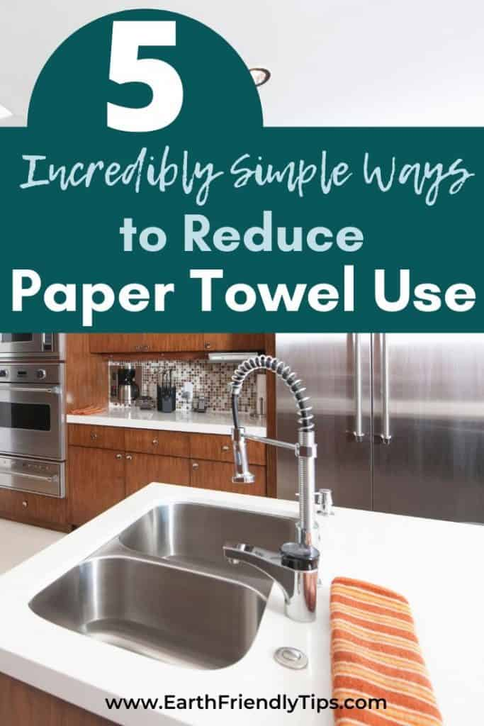Wood and stainless steel kitchen text overlay 5 Incredibly Simple Ways to Reduce Paper Towel Use