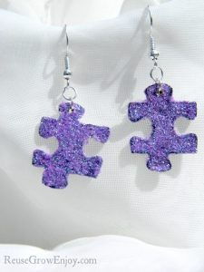 Upcycled puzzle piece earrings