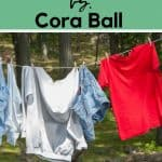 Clothes hanging outside to dry text overlay Guppyfriend vs. Cora Ball