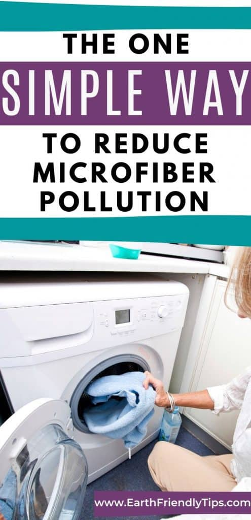 Woman putting clothes in dryer text overlay The One Simple Way to Reduce Microfiber Pollution