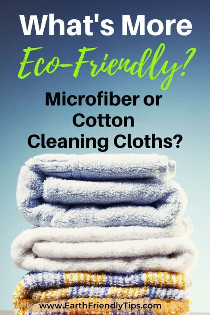 Stacked towels text overlay What's More Eco-Friendly? Microfiber or Cotton Cleaning Cloths