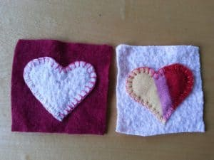 Upcycled felted heart coasters