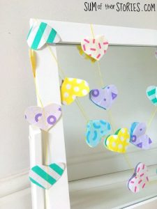 Upcycled paper heart garland