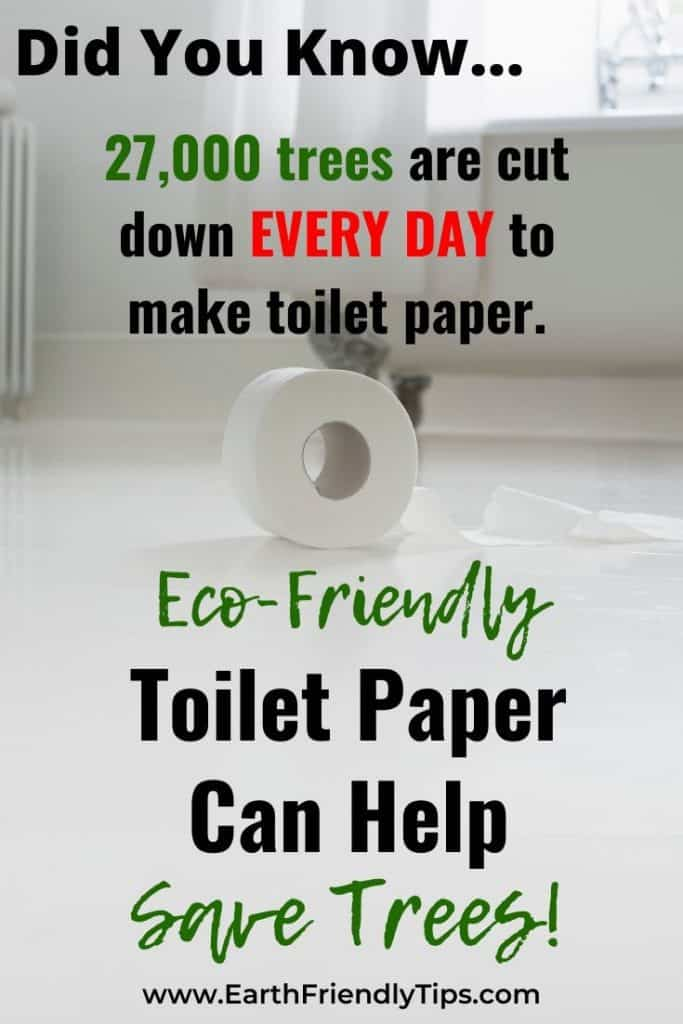 Toilet paper on floor with text overlay Eco-Friendly Toilet Paper Can Help Save Trees