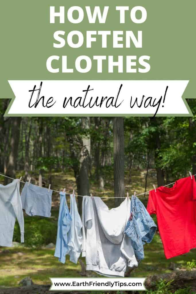 Laundry hanging outside text overlay How to Soften Clothes the Natural Way