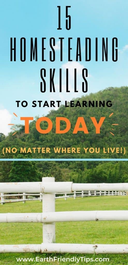 White fence on farm text overlay 15 Homesteading Skills to Start Learning Today