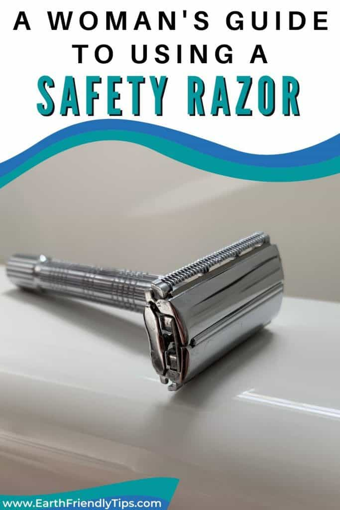 Safety razor on edge of tub text overlay A Woman's Guide to Using a Safety Razor
