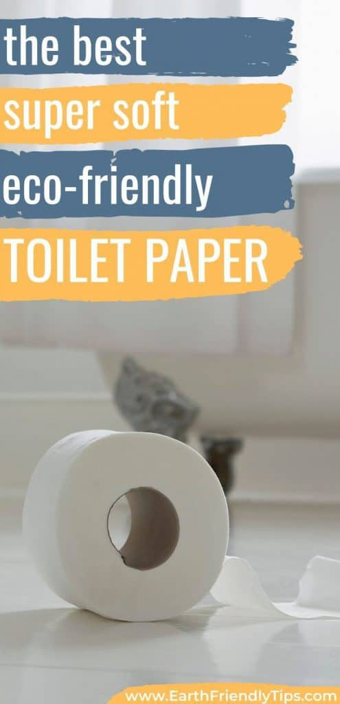 Roll of toilet paper on bathroom floor text overlay The Best Super Soft Eco-Friendly Toilet Paper