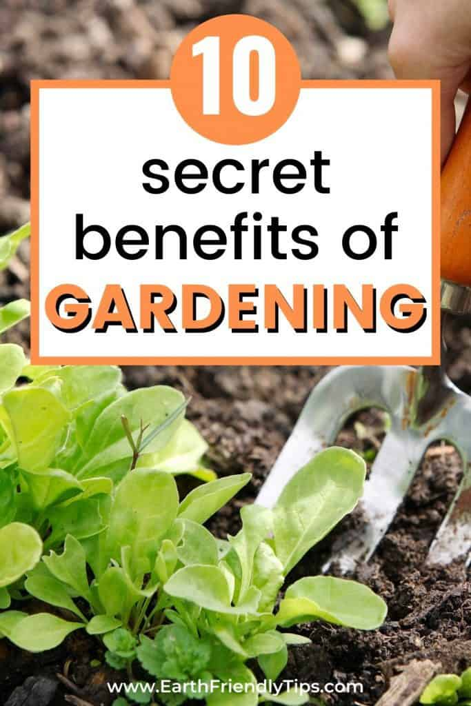 Spade in garden with text overlay 10 Secret Benefits of Gardening