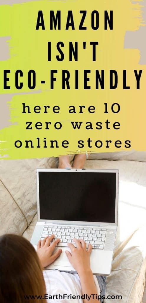 Woman on laptop text overlay 10 Zero Waste Online Stores