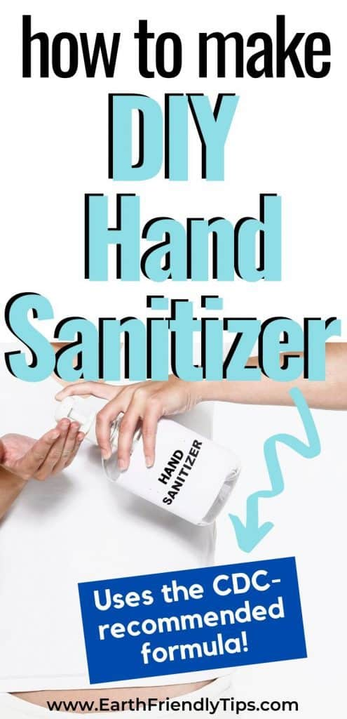 Woman with hand sanitizer and text overlay How to Make DIY Hand Sanitizer