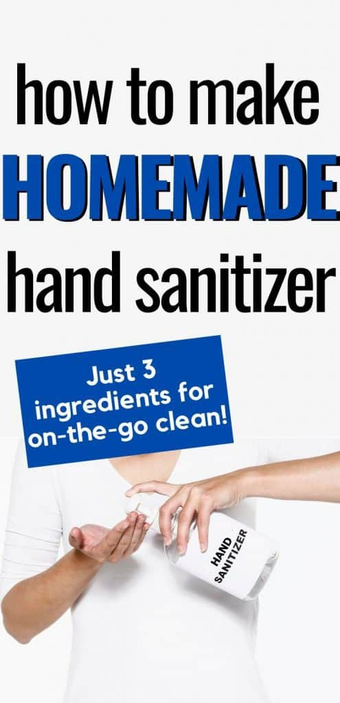 Person using bottle of hand sanitizer text overlay How to Make Homemade Hand Sanitizer