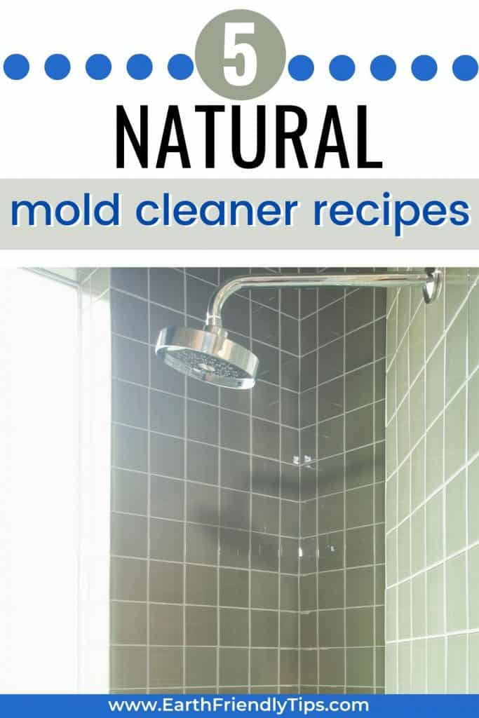 Tiled shower with text overlay 5 Natural Mold Cleaner Recipes