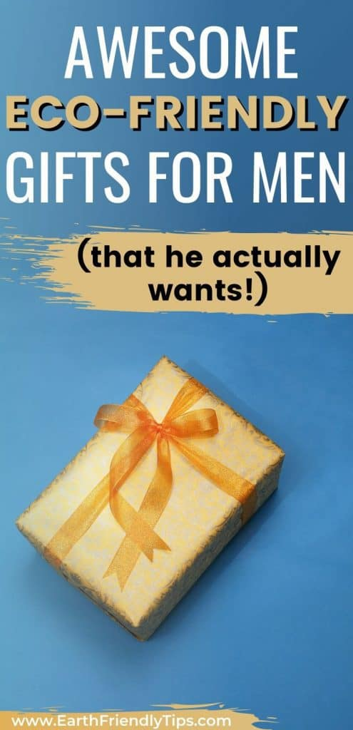 Gold gift on blue background text overlay Awesome Eco-Friendly Gifts for Men
