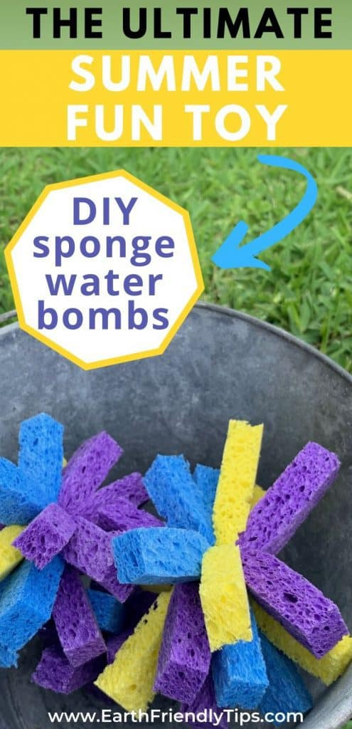 Sponge water bombs in bucket text overlay DIY Sponge Water Bombs
