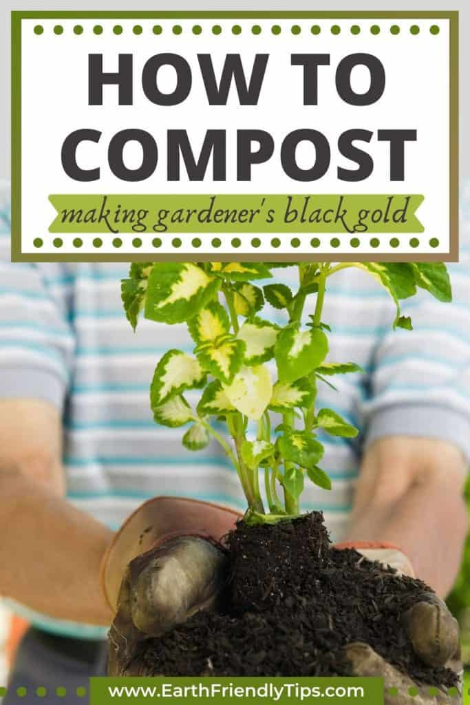 Man holding plant text overlay How to Compost