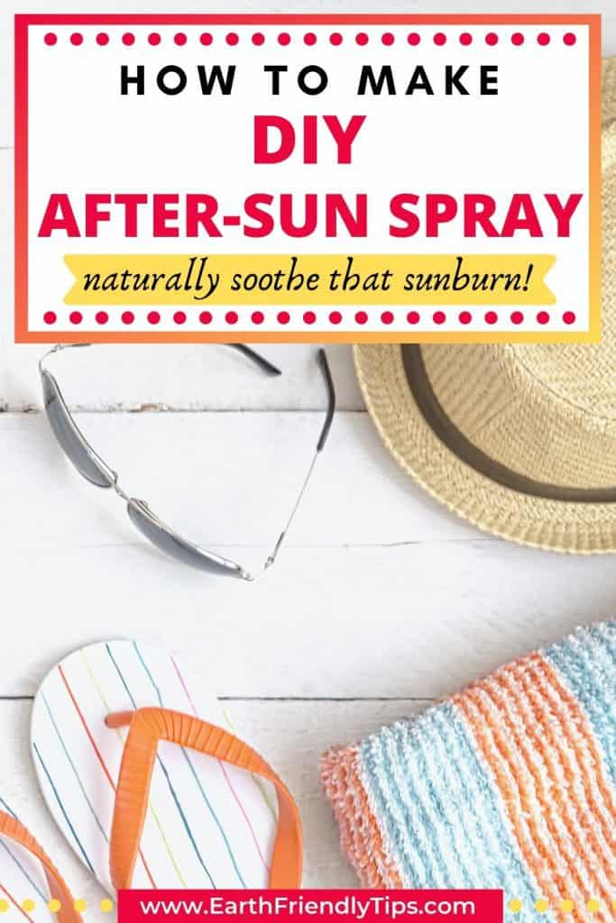 Sunglasses, hat, towel, and flip-flops with text overlay How to Make DIY After-Sun Spray