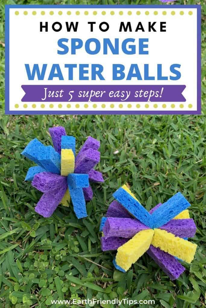 Sponge water bombs in grass text overlay How to Make Sponge Water Balls