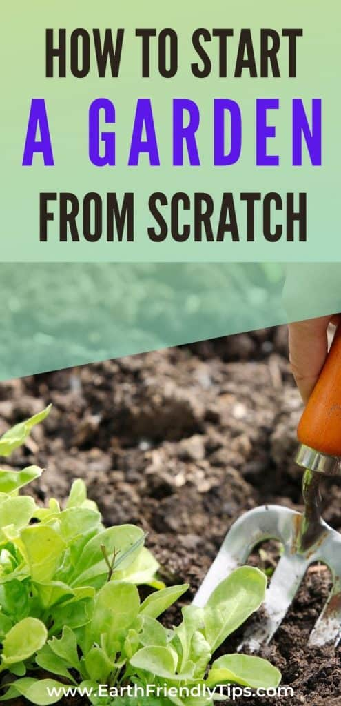 Spading fork working soil text overlay How to Start a Garden From Scratch