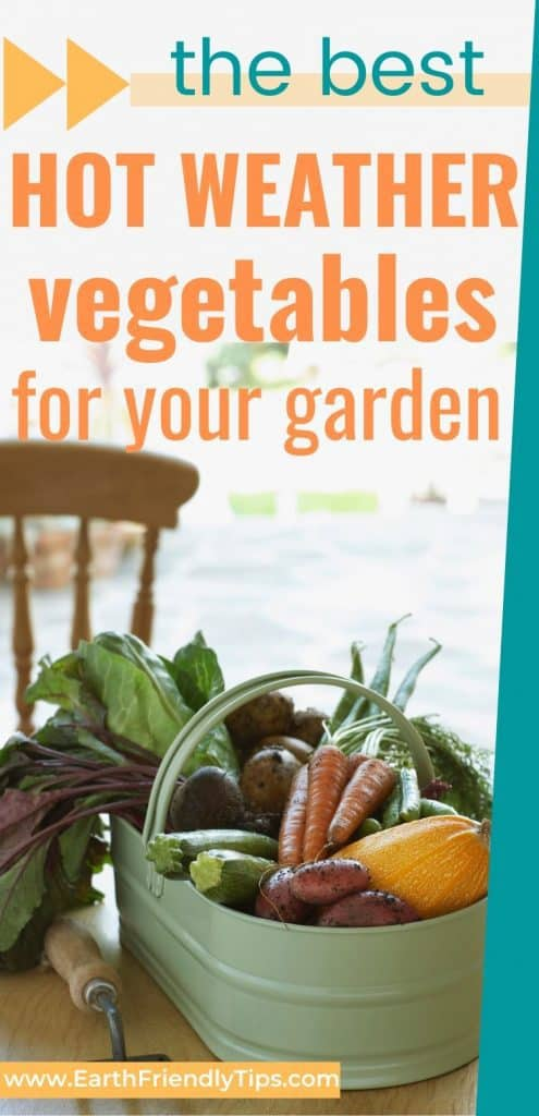 Bucket of vegetables on table text overlay The Best Hot Weather Vegetables for Your Garden