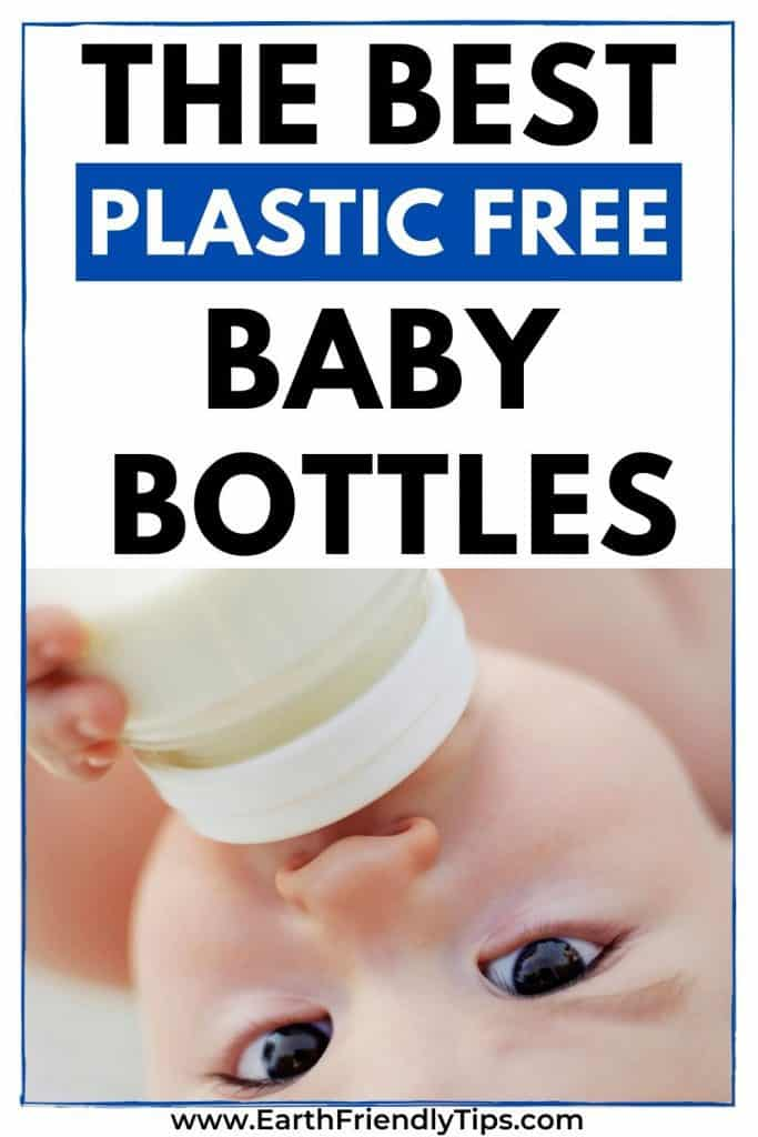 Baby drinking from bottle text overlay The Best Plastic Free Baby Bottles