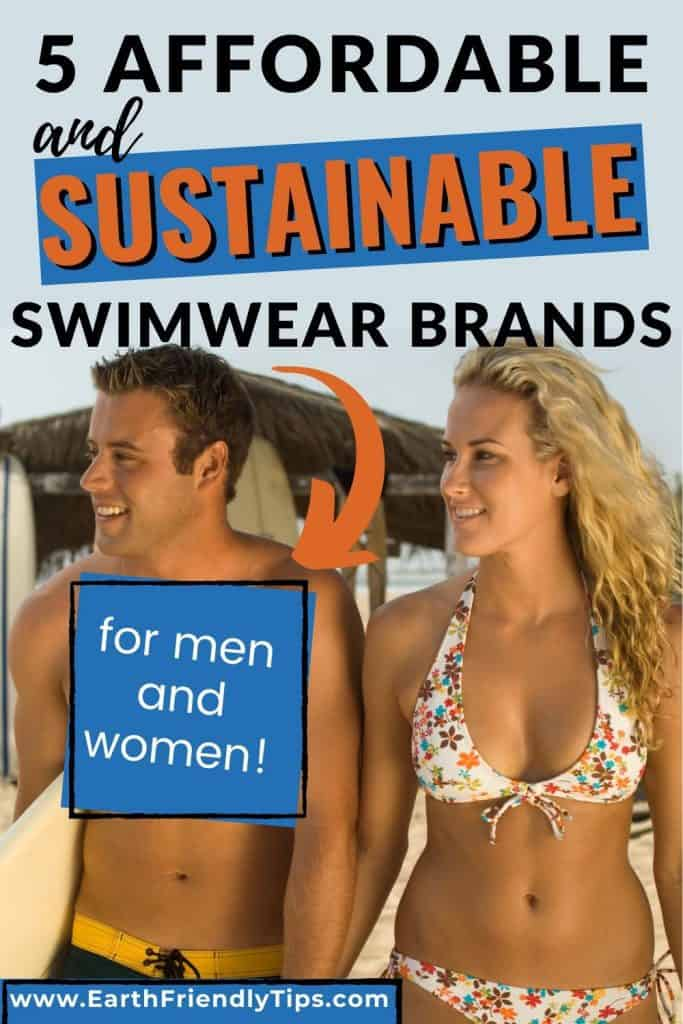 Man and woman walking on beach text overlay 5 Affordable and Sustainable Swimwear Brands
