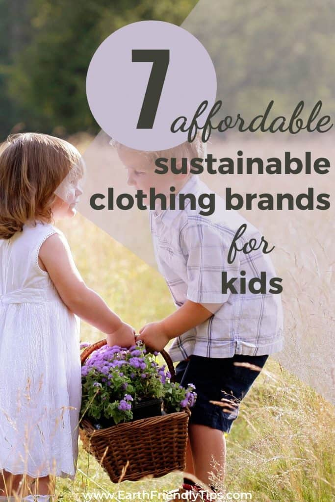 Boy helping girl with flower basket text overlay 7 Sustainable Clothing Brands for Kids