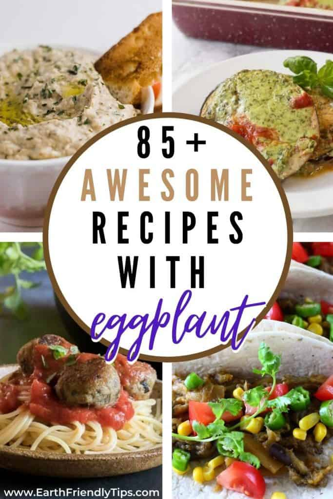 Collage of eggplant dishes text overlay 85+ Awesome Recipes With Eggplant