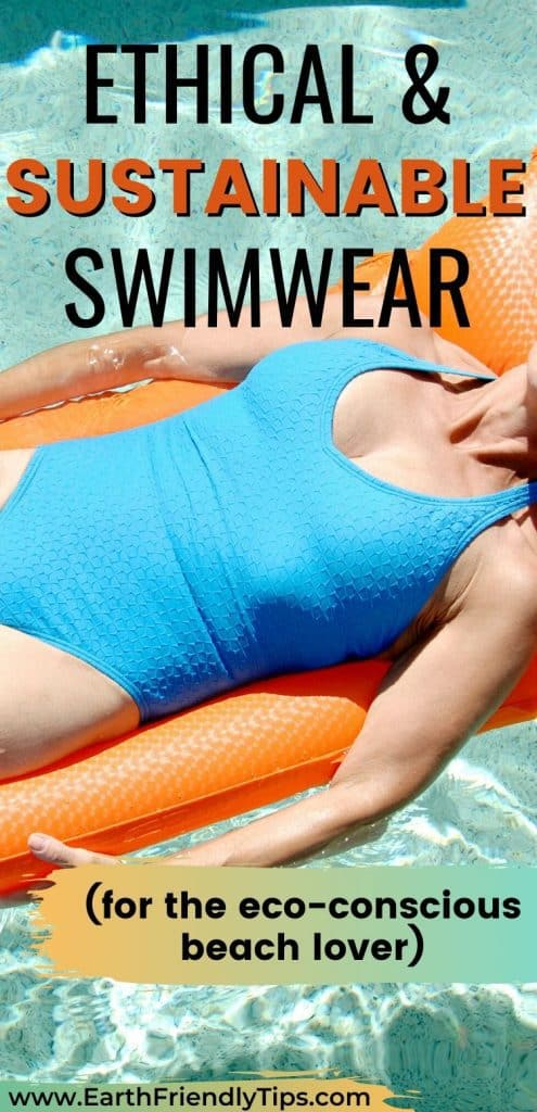 Woman on pool raft text overlay Ethical and Sustainable Swimwear