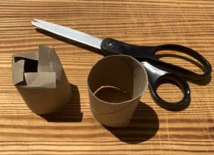 Scissors with two toilet paper rolls