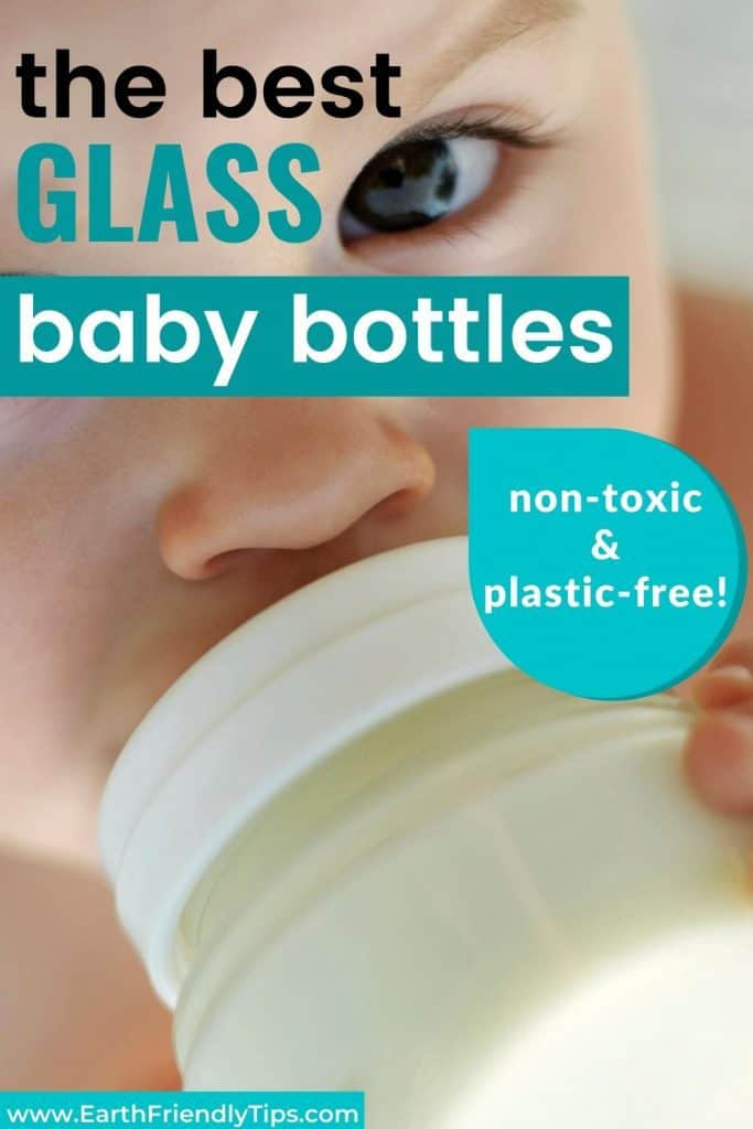 Baby drinking from bottle text overlay The Best Glass Baby Bottles