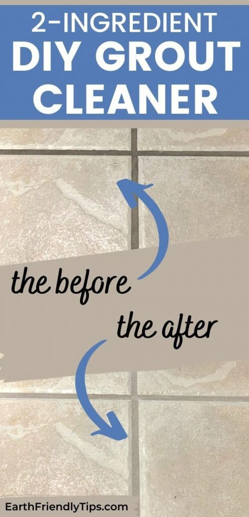 Before and after tile floor collage text overlay 2-Ingredient DIY Grout Cleaner
