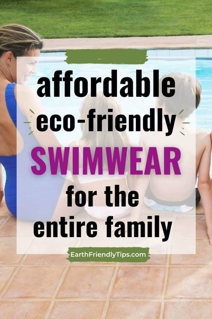 Mother and kids sitting next to pool text overlay Affordable Eco-Friendly Swimwear for the Entire Family