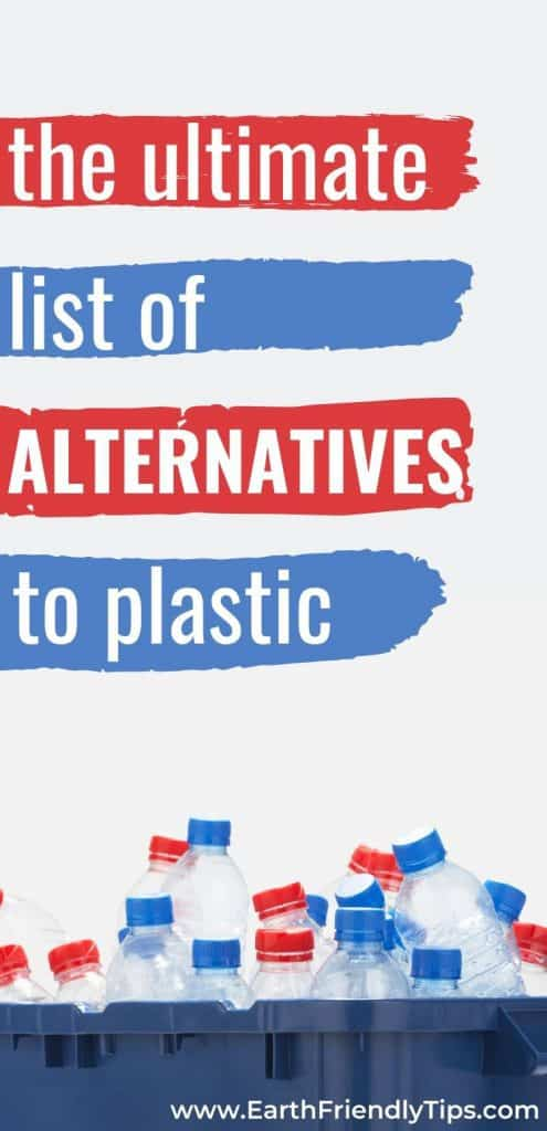 Plastic bottles in recycling bin text overlay The Ultimate List of Alternatives to Plastic