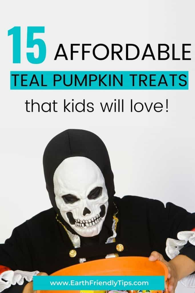 Boy in Halloween costume text overlay 15 Affordable Teal Pumpkin Treats