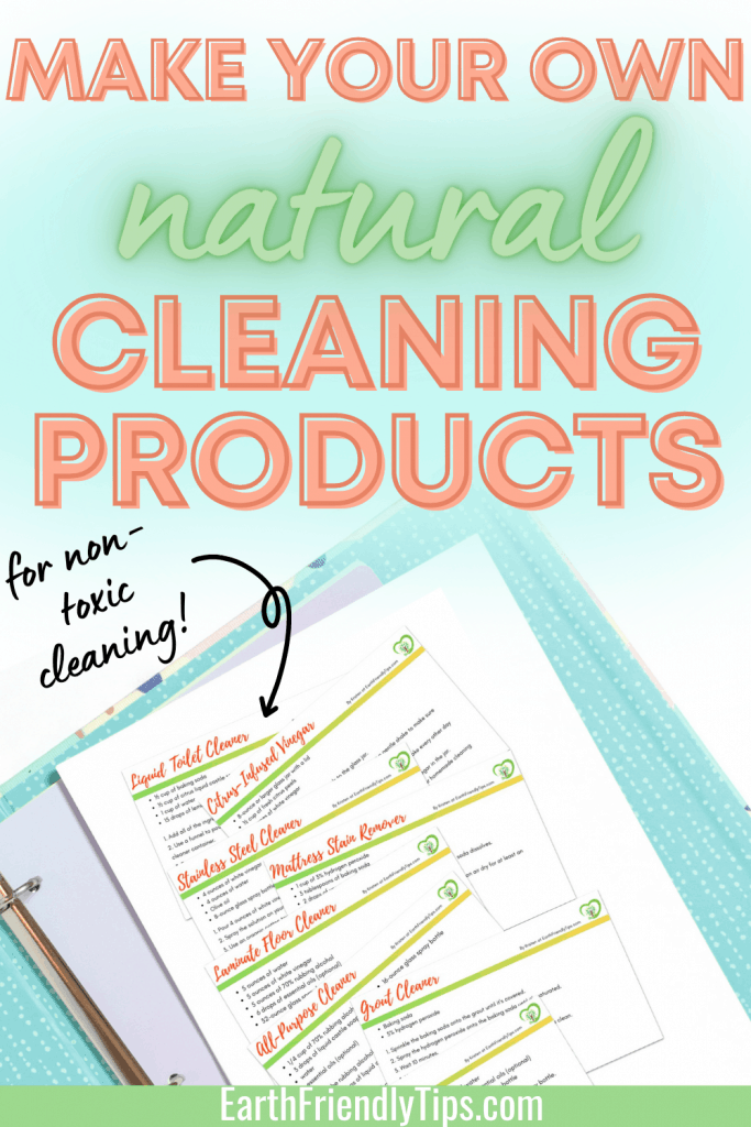 Natural cleaning product recipe cards on notebook with text overlay Make Your Own Natural Cleaning Products for Non-Toxic Cleaning