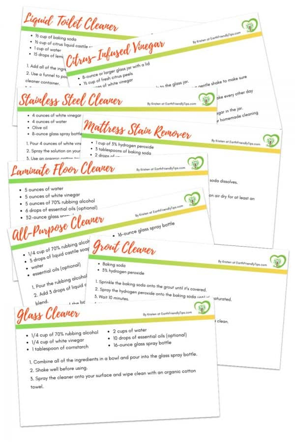 Natural cleaning recipe cards