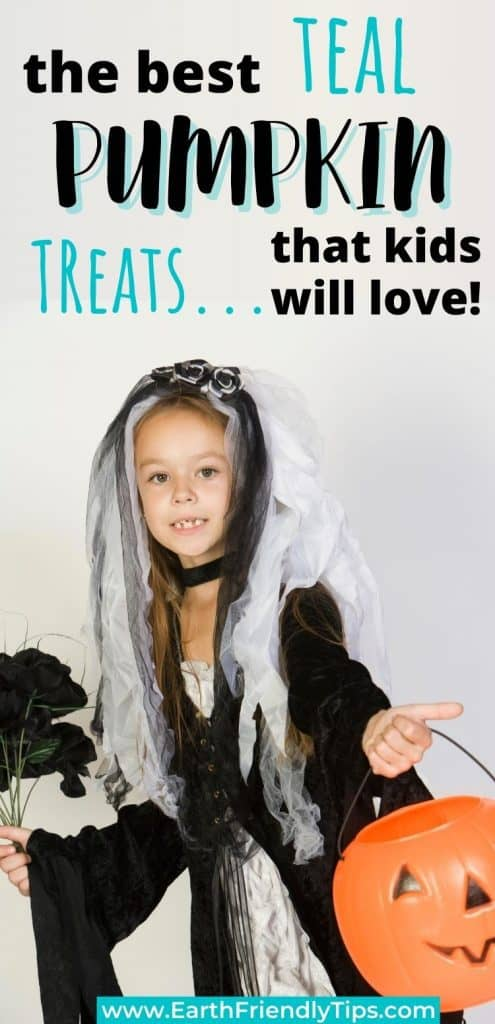 Girl in Halloween costume text overlay The Best Teal Pumpkin Treats