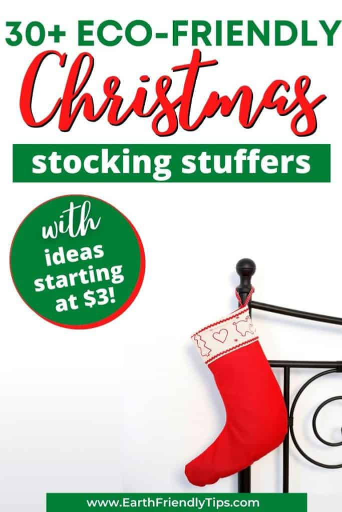 Stocking hanging on bed text overlay 30+ Eco-Friendly Christmas Stocking Stuffers