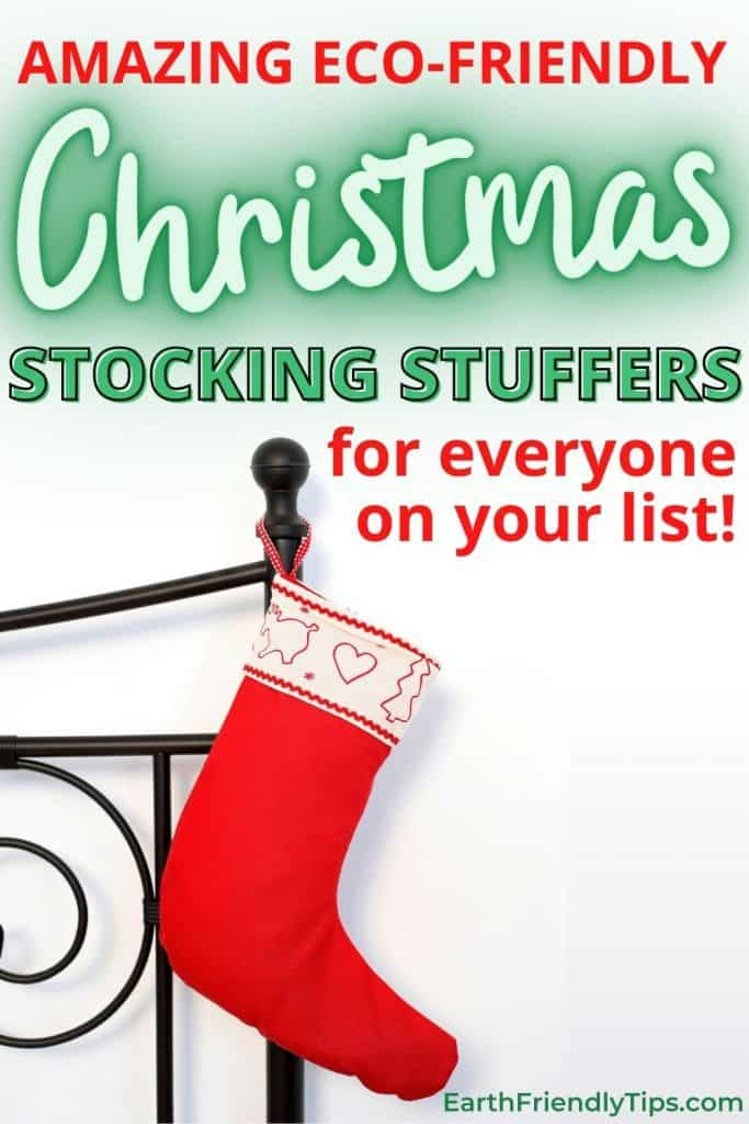 Stocking hanging on bed text overlay Amazing Eco-Friendly Stocking Stuffers