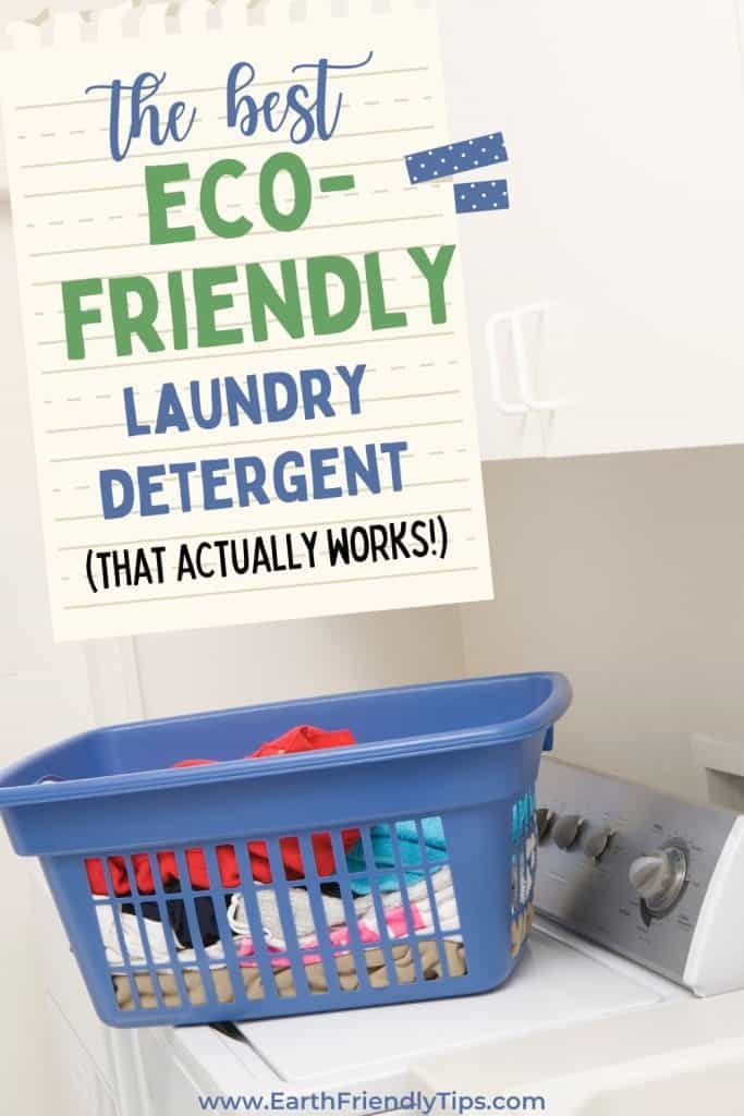 Laundry basket on washing machine text overlay The Best Eco-Friendly Laundry Detergent That Actually Works