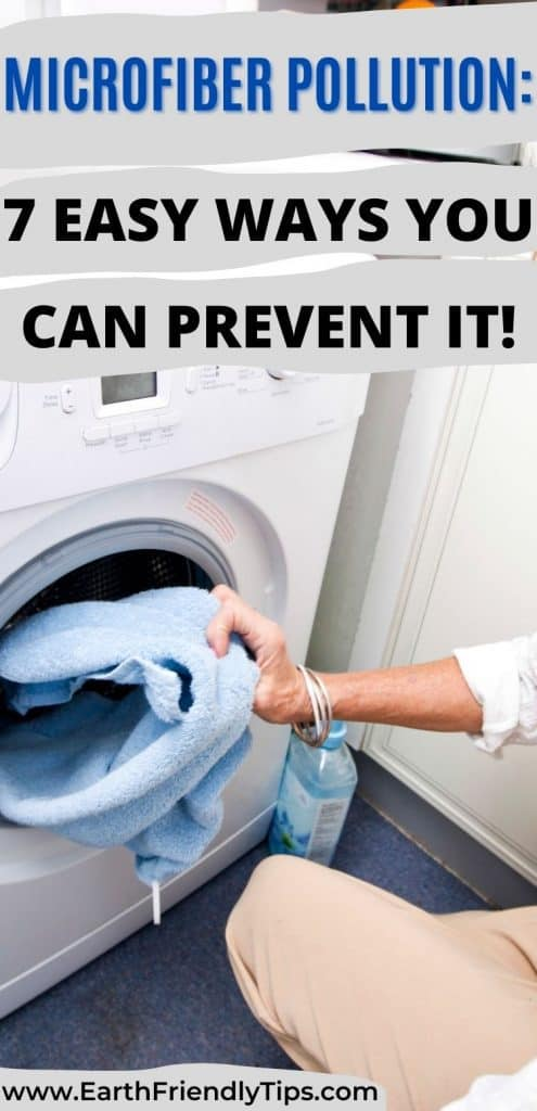Woman putting clothes in dryer text overlay Microfiber Pollution: 7 Easy Ways You Can Prevent It