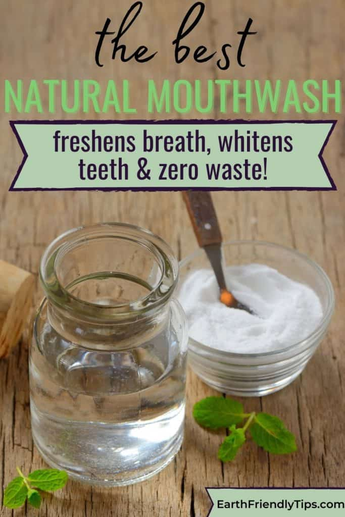 Natural mouthwash on wood board text overlay The Best Natural Mouthwash
